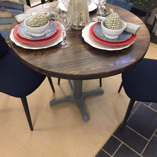 Round Cafe Table in Antique Reclaimed Pine