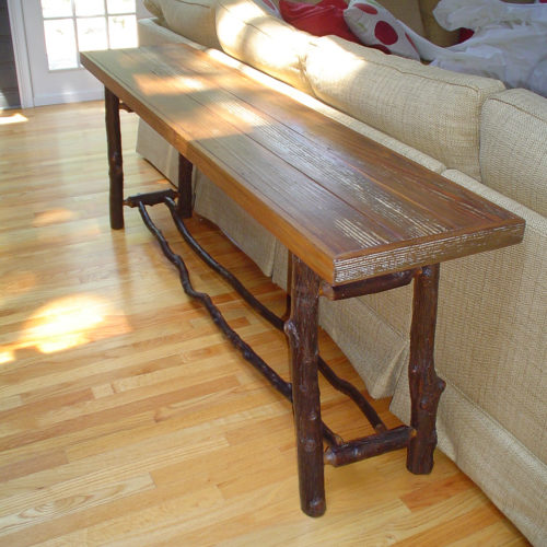 Console Table in Antique Reclaimed Pine with Rustic Hickory Base