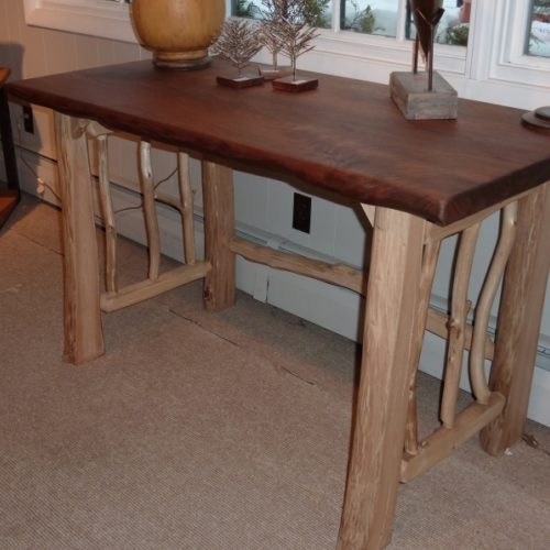 Rustic Desk with Sculpted Walnut Top and Peeled Hardwood Base