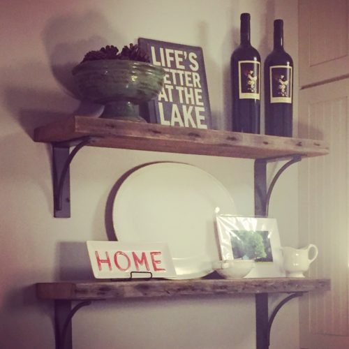 Shelves in Antique Reclaimed Pine and Steel Brackets