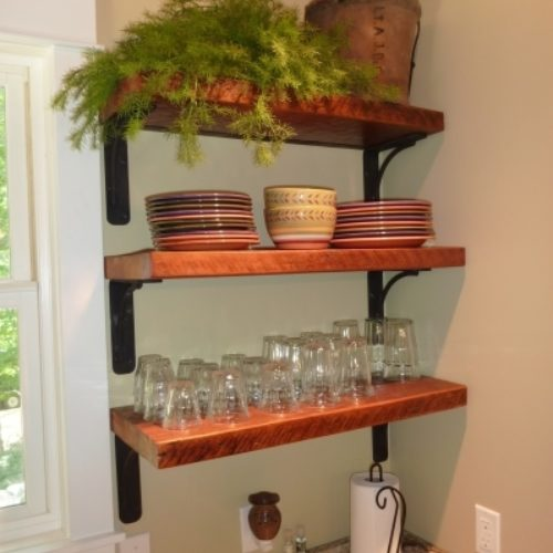 Shelves in Antique Reclaimed Pine with Steel Brackets