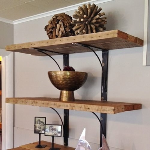 Shelves in Reclaimed Pine with Large Steel Brackets