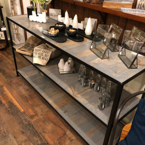 Shelving Unit/Buffet with Steel Frame and Grey Washed Reclaimed Pine
