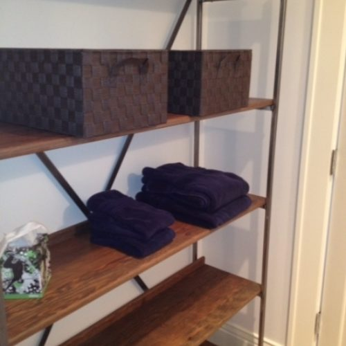 Shelving Unit in Reclaimed Antique Douglas Fir Bleacher Seats with Steel Frame