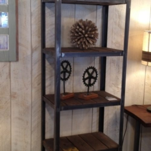 Shelving Unit in Reclaimed Wood With Steel Frame