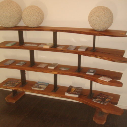 Shelving Unit with Natural Edge Cherry Slabs and Steel Supports