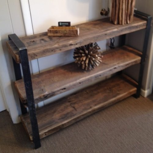 Shelving Unit with Reclaimed Wood and Bent Steel Flat Bar Frame