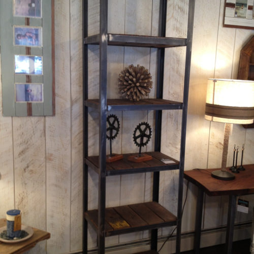 Shelving Unit with Reclaimed Wood and Steel Frame