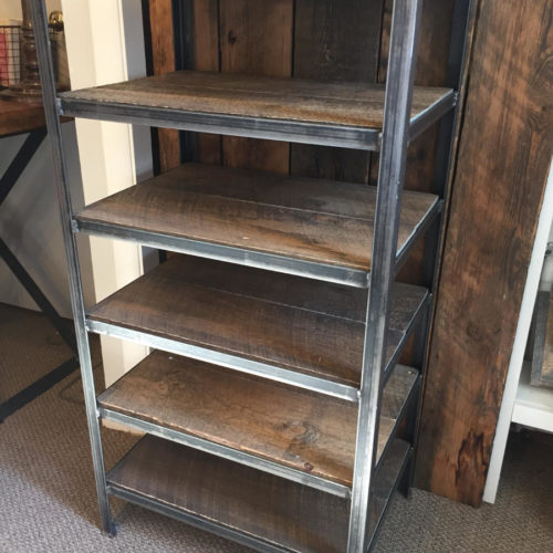 Shelving Unit with Steel Frame and Reclaimed Oak