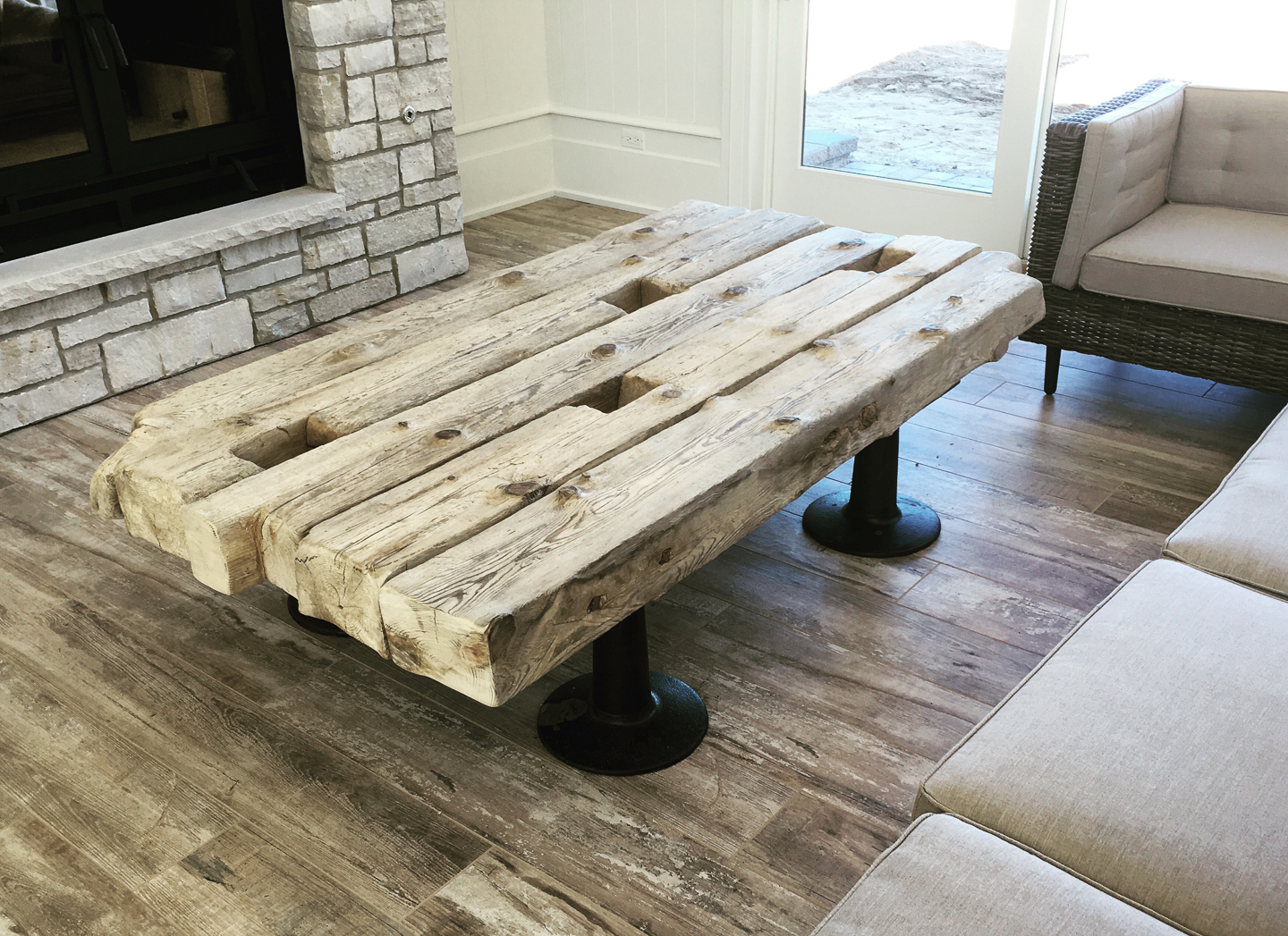 Coffee Table Made Of Reclaimed Wood From 100 Year Old Lake Michigan Shipwreck With Vintage Industrial