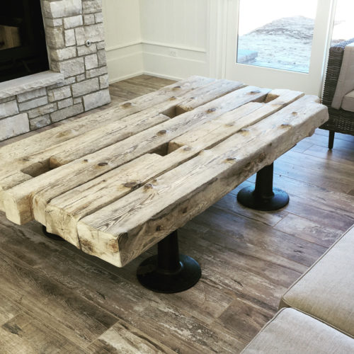 Coffee Table made of Reclaimed Wood from 100 Year Old Lake Michigan Shipwreck with Vintage Industrial Cast Iron Legs