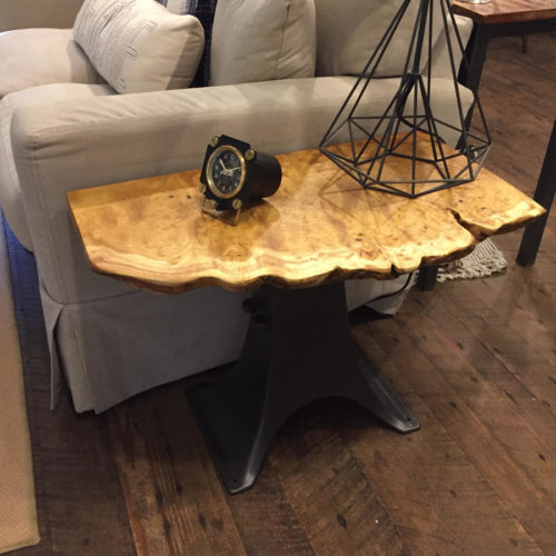 Side Table in Burled Mulberry with Vintage Cast Iron Creamery Base