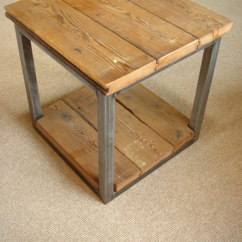Side Table in Reclaimed Tongue and Groove Pine Hayloft Decking with Tubular Steel Base