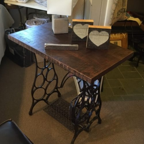 Side Table made with Antique Sewing Machine Base and Reclaimed Wood Top
