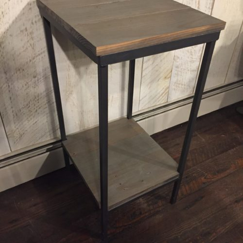 Side Table Plant Stand in Reclaimed Gray Wood with Gray Stain and Tubular Steel Base