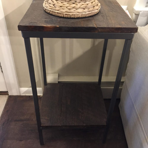Side Table Plant Stand in Reclaimed Weathered White Pine with Tubular Steel Base