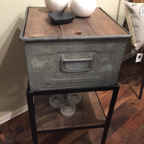 Side Table with Antique Galvanized Box, Steel Frame and Reclaimed Oak Top