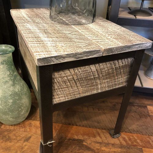 Side Table with Hidden Storage- White Washed Weathered White Pine with Steel Frame