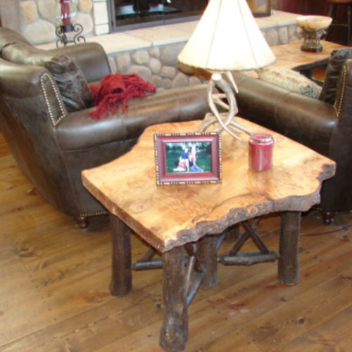 Side Table with Re-Purposed Burled Wood Slab and Hickory Log Base