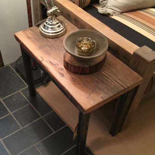 Side Table with Reclaimed Oak Top and Tubular Steel Base
