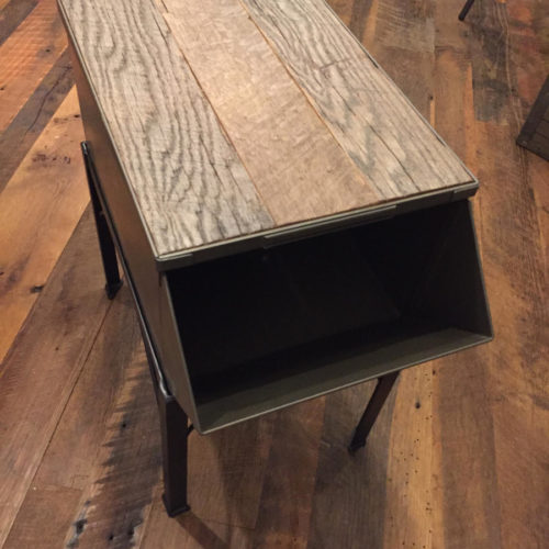 Side Table with Steel Frame, Vintage Box and Reclaimed Oak Top