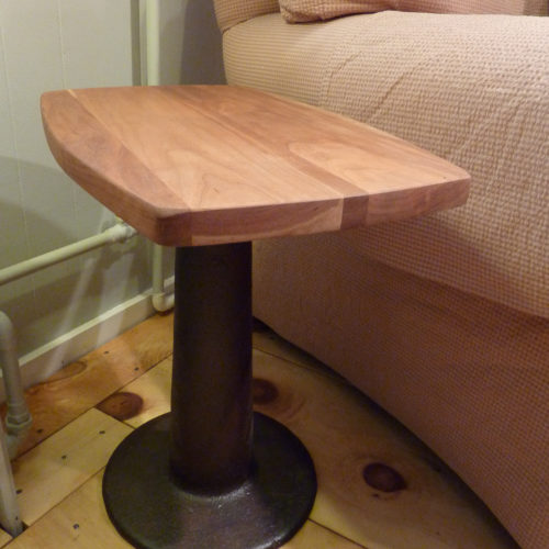 Side Table with Vintage Cast Iron Base and Re-Purposed Cherry Top
