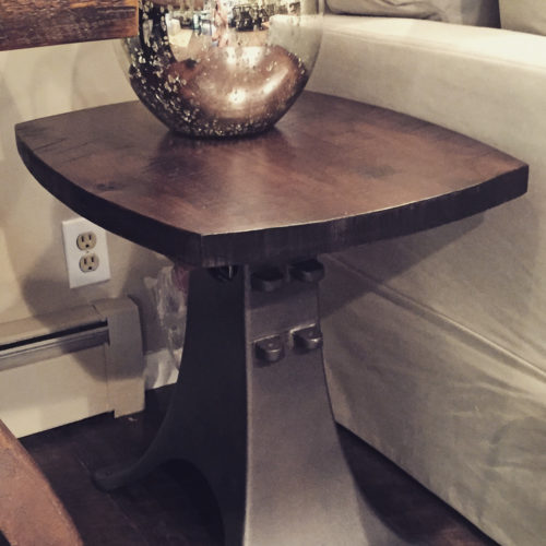 Side Table with Vintage Cast Iron Creamery Base and Reclaimed Pine Top