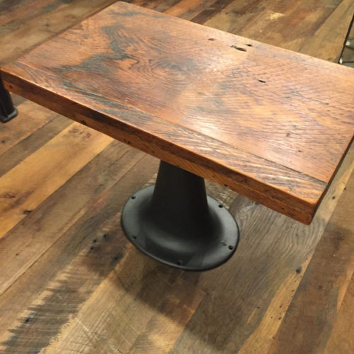 Side Table with Vintage Cast Iron Creamery Base and Reclaimed Wood Top