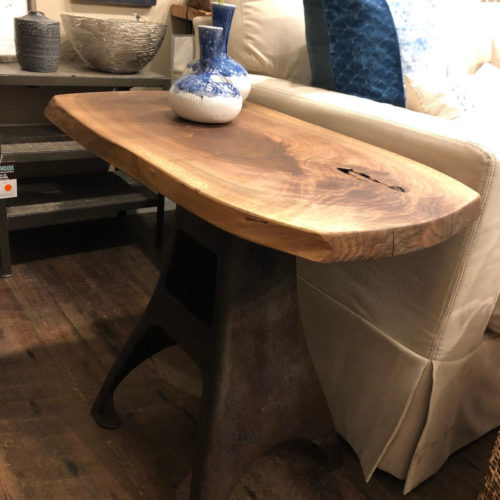 Side Table with Walnut Live Edge Top and Vintage Creamery Base
