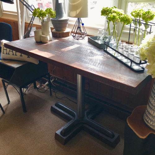 Small Dining Table/Hallway Table with Reclaimed Rough Sawn Oak and Vintage Retro Base