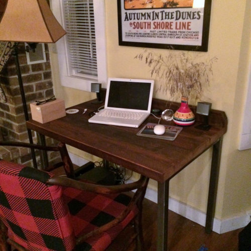 Desk in Antique Reclaimed Oak with Tubular Steel Base