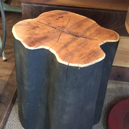 Stump Side Table in Black Locust with Black Paint