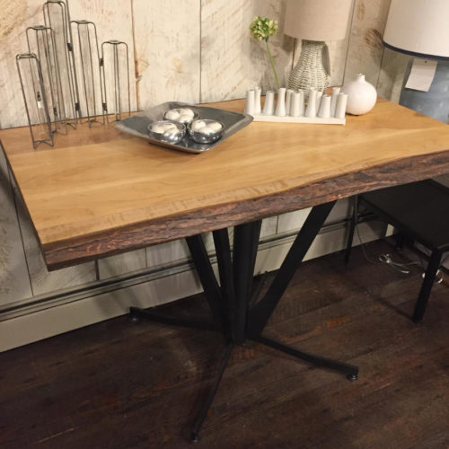 Table with Natural Edge Maple Top and Retro Steel Base