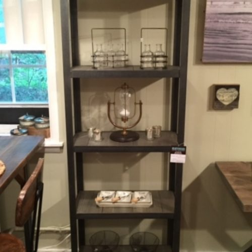 Tall Shelving Unit reclaimed wood with gray finish. Steel Frame