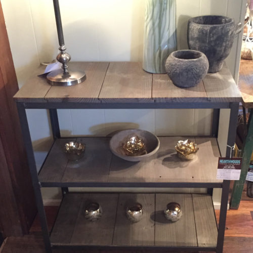 Three Tier Shelving Unit with Reclaimed Pine and Angle Iron Frame