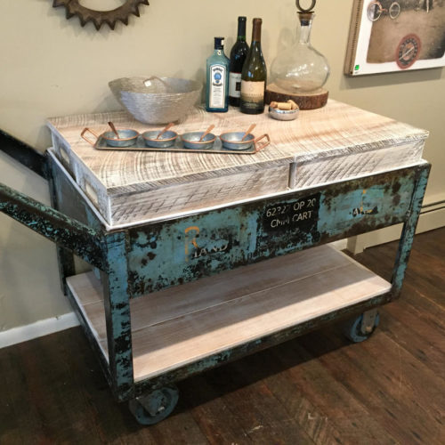 Vintage Cart Refurbished into Rolling Bar Cart with 4 storage Boxes