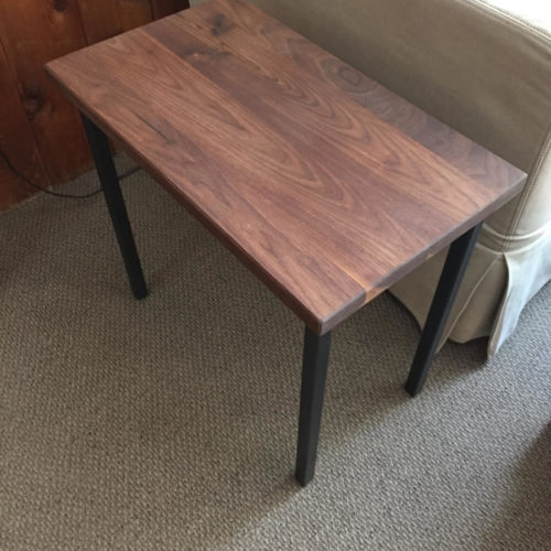 Walnut Side Table with Tubular Steel Base