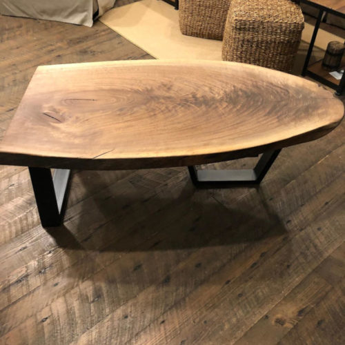 Walnut Slab Coffee Table with Steel Base
