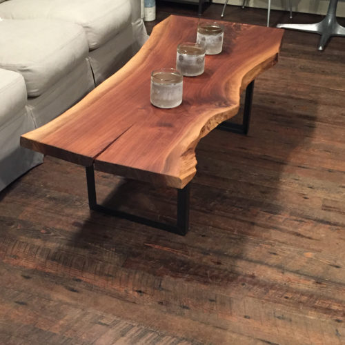 Coffee Table made from Walnut Slab with Steel Base