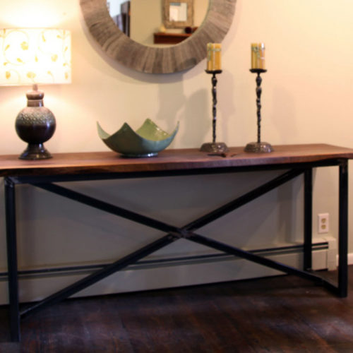 Console Table with Natural Edge Walnut Top and Tubular Steel Cross Base